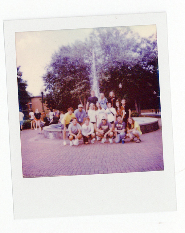 A Polaroid photo of Elias and new Drury friends